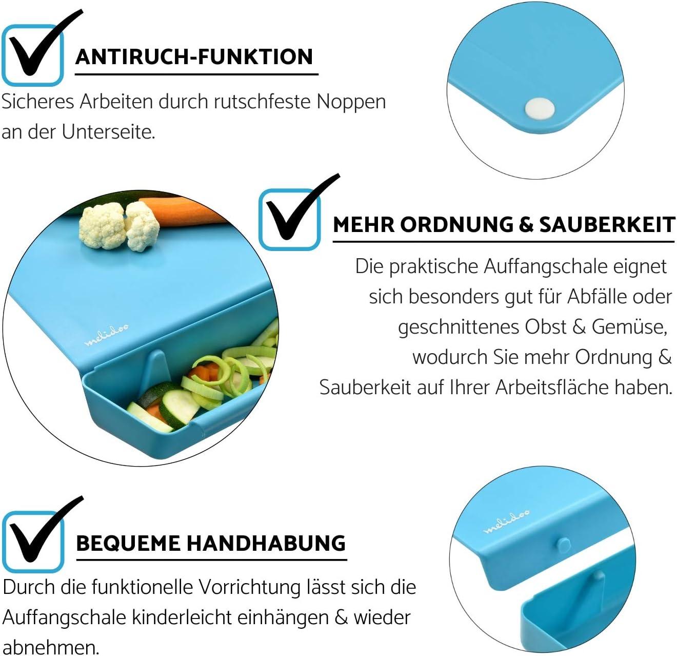 Blau Antibakteriell BPA-frei 3in1 Set + SPARSCH/ÄLER Melidoo K/üchenbrett mit Auffangschale f/ür K/üchenabf/älle Kunstoff 38x40 cm Rutschfest Sp/ülmaschinenfest Schneidebrett Kunststoff