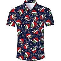 325742265cab Uideazone Men Xmas Holiday Button Down Shirt Ugly Hawaiian Christmas Shirts