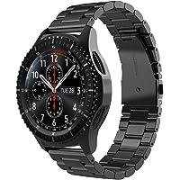 Simpeak Correa para Samsung Gear S3 Frontier S3 Classic Galaxy Watch 46mm, Acero Inoxidable Banda de reemplazo Tres Hebilla de Cuentas Diseño Correa para Gear S3 Classic/Frontier - Negro