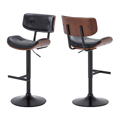BELLEZE Set of 2 Contemporary Tufted Upholstered Swivel Hydraulic Adjustable Height Walnut Bar Stool, Black