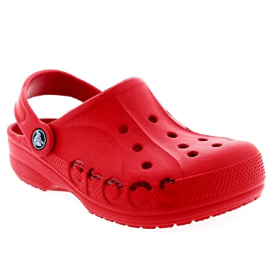 8b9cc5ac0 Crocs Unisex Kids Junior Baya Slip On Holiday Beach Clogs Casual Shoes -  Red - 5