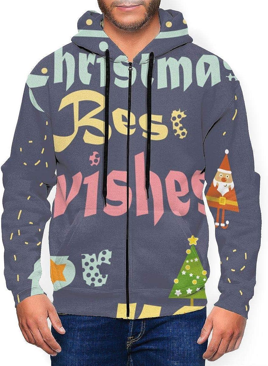 Lian Ming1 Christmas Mens Long Sleeve Hoodie Full-Zip Hooded Sweatshirt,