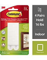 Command Picture and Frame Hanging Strips, Large, White, 4-Pairs (17206-ES)