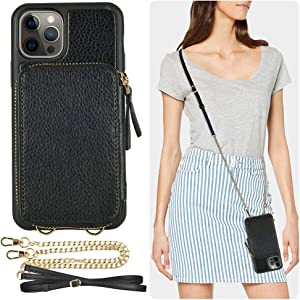 ZVE Wallet Case Compatible with iPhone 12 Pro Max, 6.7 inch, Zipper Crossbody Phone Case with Card Holder Wrist Strap Purse Cover Compatible with iPhone 12 Pro Max, 6.7 inch-Black