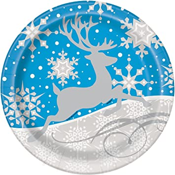 Silver Snowflake Christmas Paper Party Plates 8ct  sc 1 st  Amazon.com & Amazon.com: Silver Snowflake Christmas Paper Party Plates 8ct ...