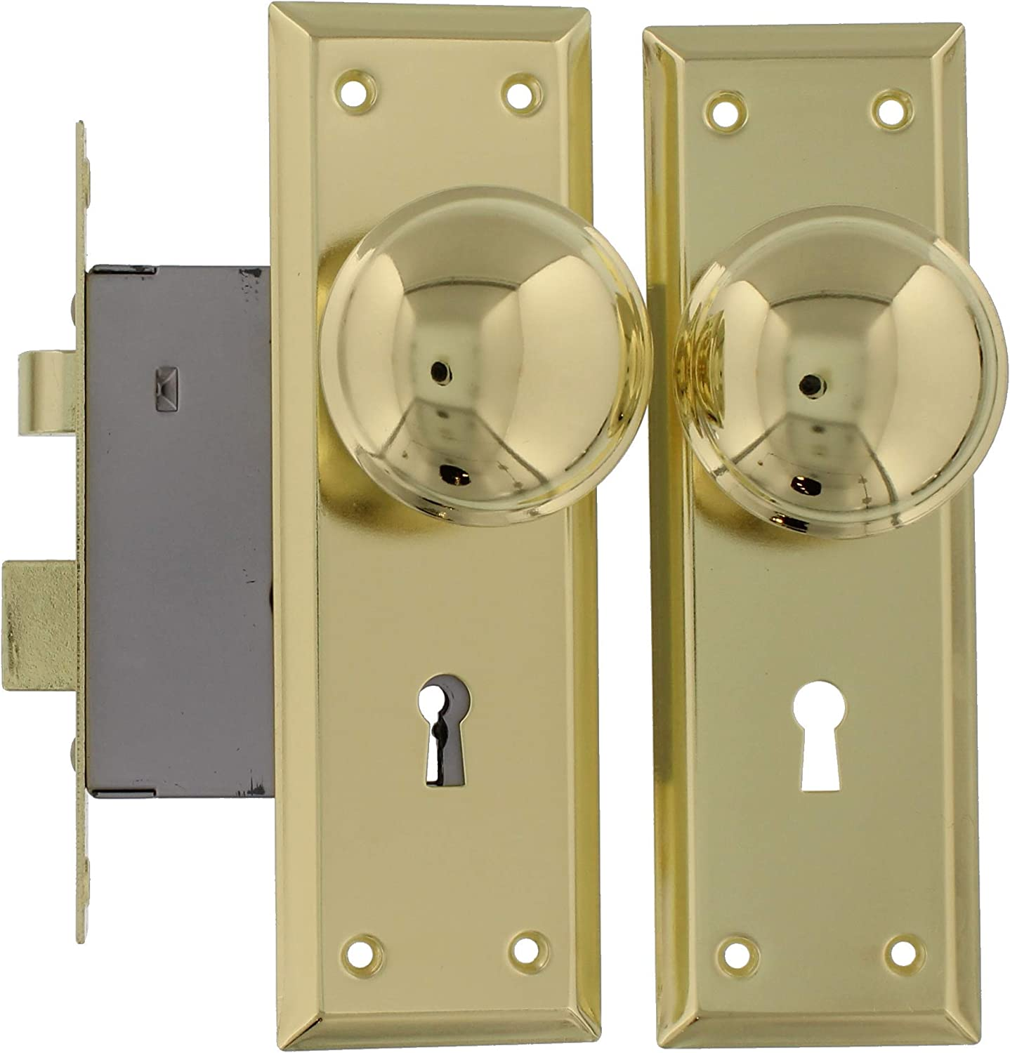 No key Vintage DOOR KNOB AND LOCK PLATE SET