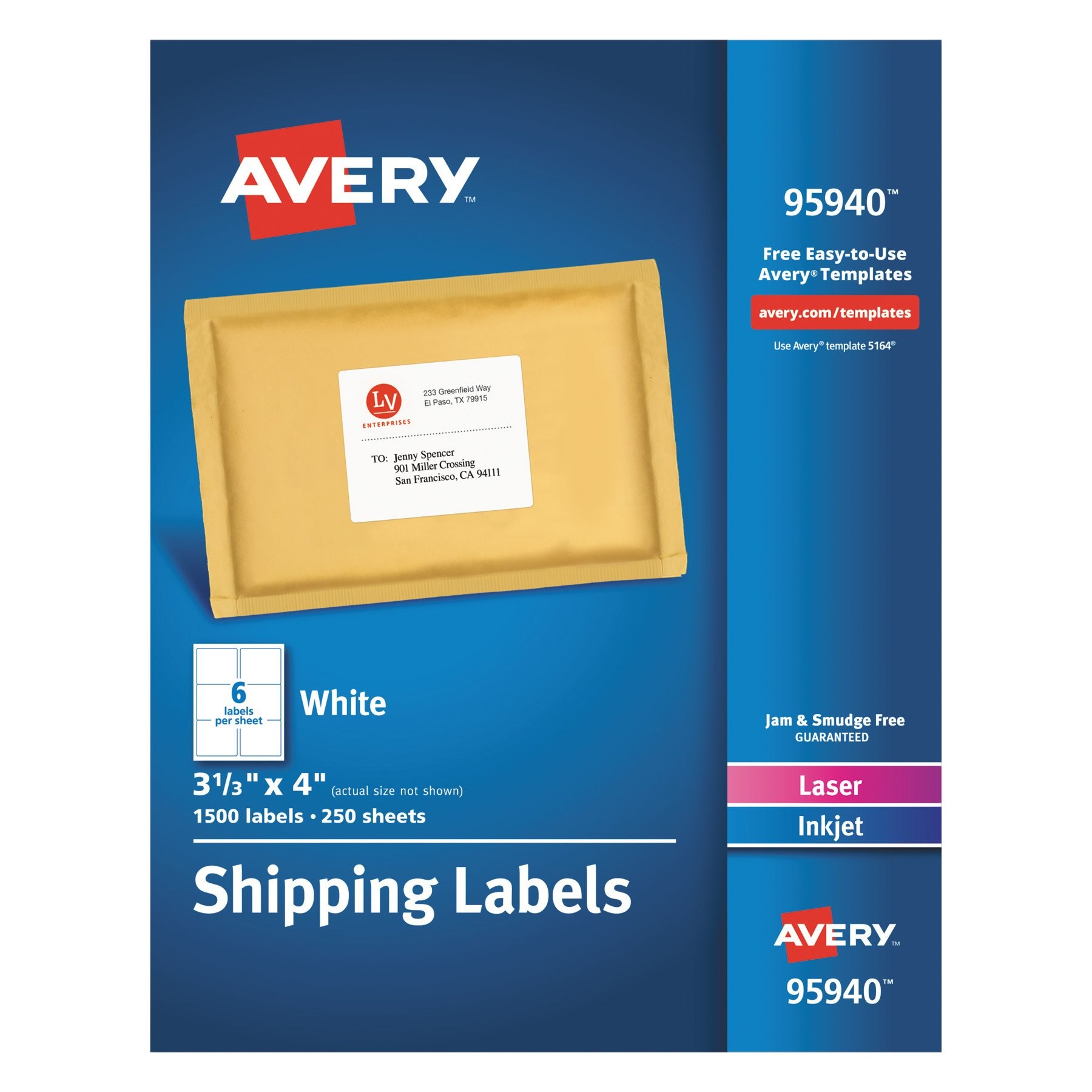 Avery Shipping Address Labels, Laser & Inkjet Printers, 1,500 Labels, 3-1/3x4 Labels, Permanent Adhesive (95940)
