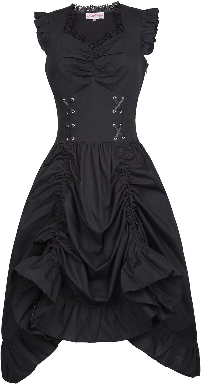 Belle Poque Vestido Gótico Vestido Steampunk Mujer Vestido Largo Negro Corsage