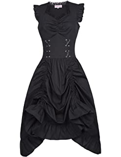 3e49e4e0ca41 Amazon.com: Party Mini Dress,Women Black Steampunk Gothic Victorian ...