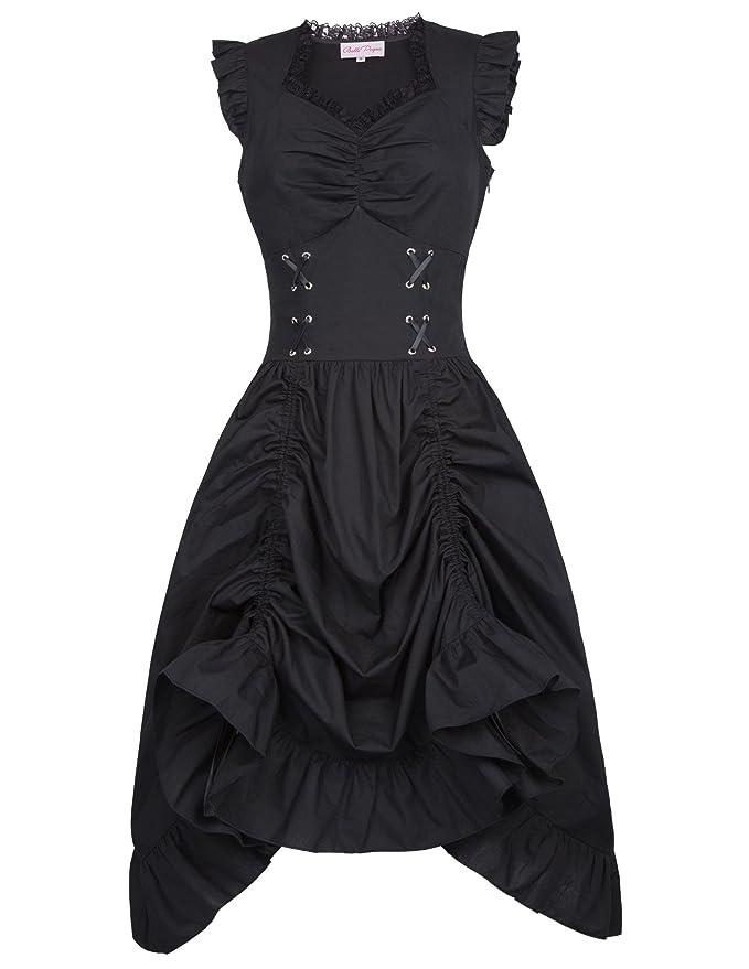 Belle Poque Women Steampunk Victorian Punk Pirate Dress Gothic Costume M Black