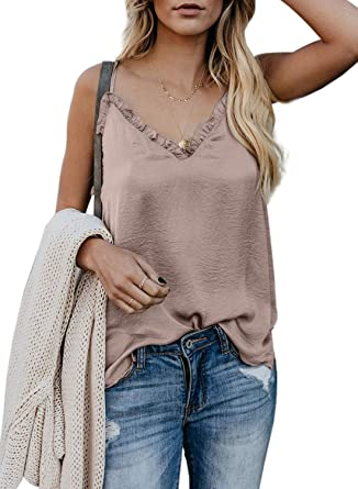4cca79d800 Elapsy Womens Ladies Fashion 2019 V Neck Strappy Tank Tops Loose Casual  Sleeveless Shirts Blouses Apriot