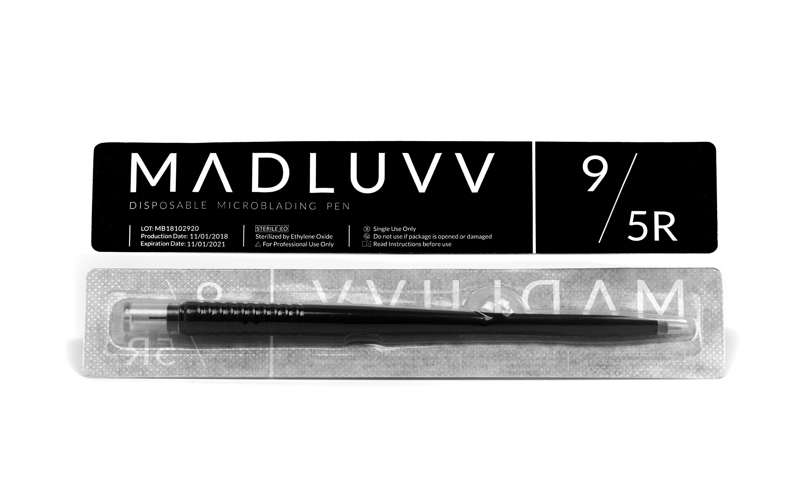Best 2-in-1 Microblading Pen Supplies Kit for Flawless Eyebrows, 10 Pack, Premium Blading & Shader Microblades, Sterile Disposable Micro Brow Sharp Needles, Professional Double-Sided Ink Pens (9/5r) by MADLUVV (Image #4)