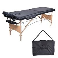 MC Dear Table de Massage Bois 2 Zones Professionnelle Lit de Massage Pliante Pliable Portable Hauteur Réglable Thérapie Spa + Appui-tête + Accoudoir + Sac de Transport 15kg, Noir
