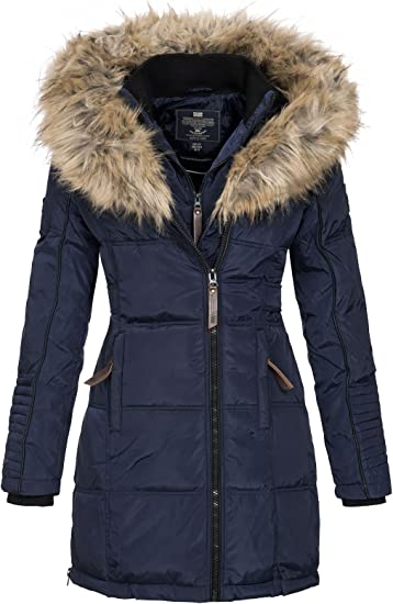 TALLA M. Geographical Norway Belissima - Chaqueta de invierno para mujer con capucha de piel XL