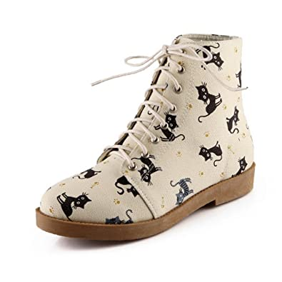 Women's Low-Top Animal-Print Lace-up Round Closed Toe Low-Heels Boots