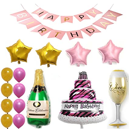 Ezing Pink Happy Birthday Cake Champagne Cup Bottle Foil Balloon Party Pack Gold