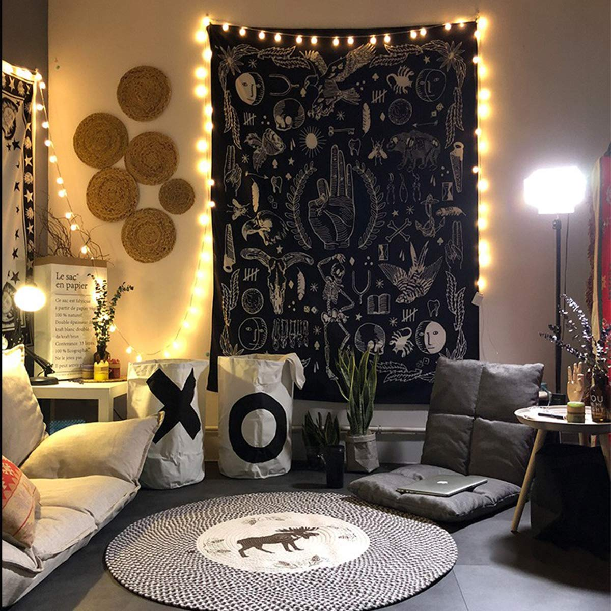 Jeteven Polyester Hanging Tapestry Witchy Black Gothic Tapestry, Wall Hanging Blanket Bedspread Beach Towels Picnic Mat Home Decor 165x148cm