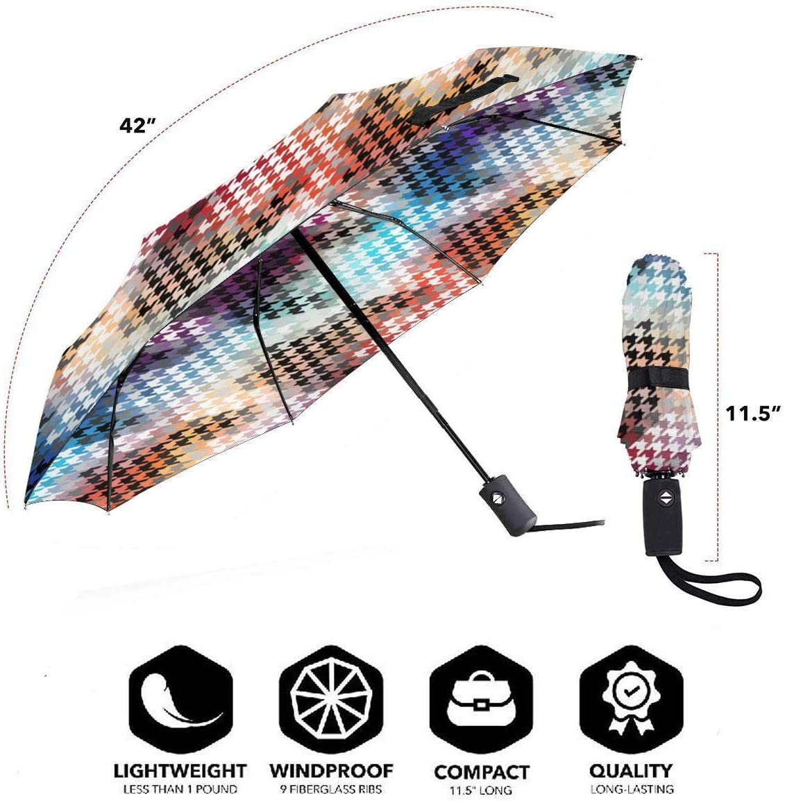 Classic Hounds Tooth Pattern Automatic Open Folding Compact Travel Umbrellas For Women