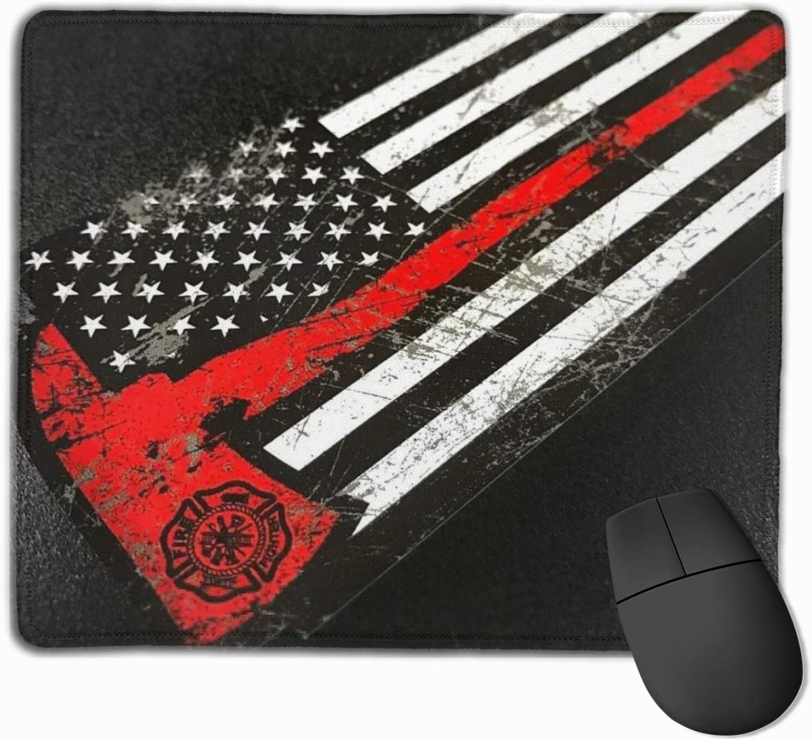 Firefighter Mouse Pad Gaming , Thin Red Line American Flag Mouse Pad Large Gaming Mouse Mat for Computer Laptop Desk