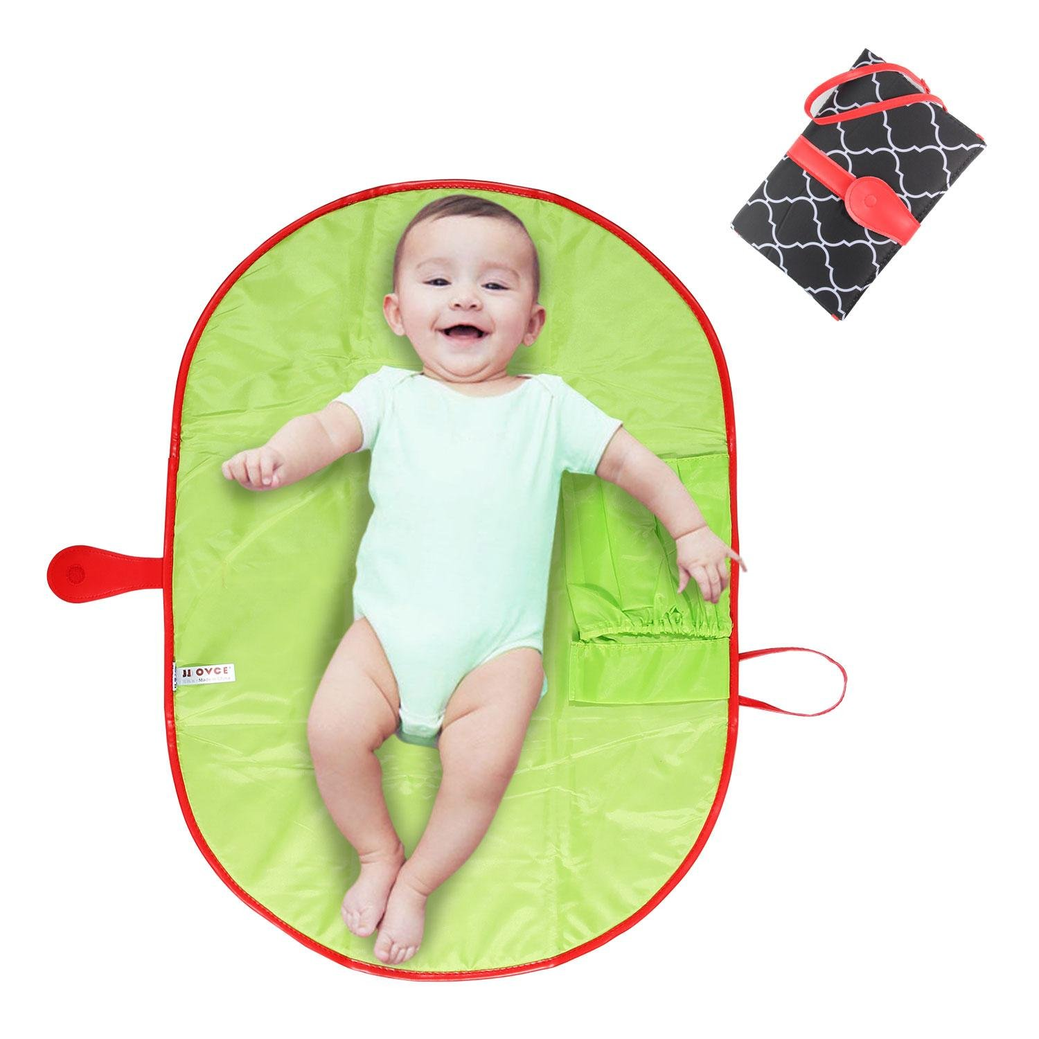 Pawaca Portable Nappy Changing Mat, Waterproof Diaper Changing Pad with Pocket, Portable Diaper Changing Station for Travel, Home, Outside