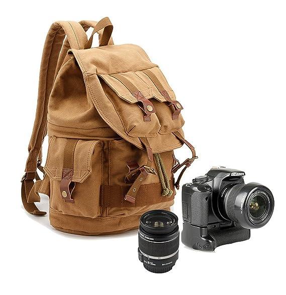 Yimidear Canvas DSLR SLR Camera Backpack Hiking Travel Bag Rucksack with Shockproof Insert Case & Rainproof