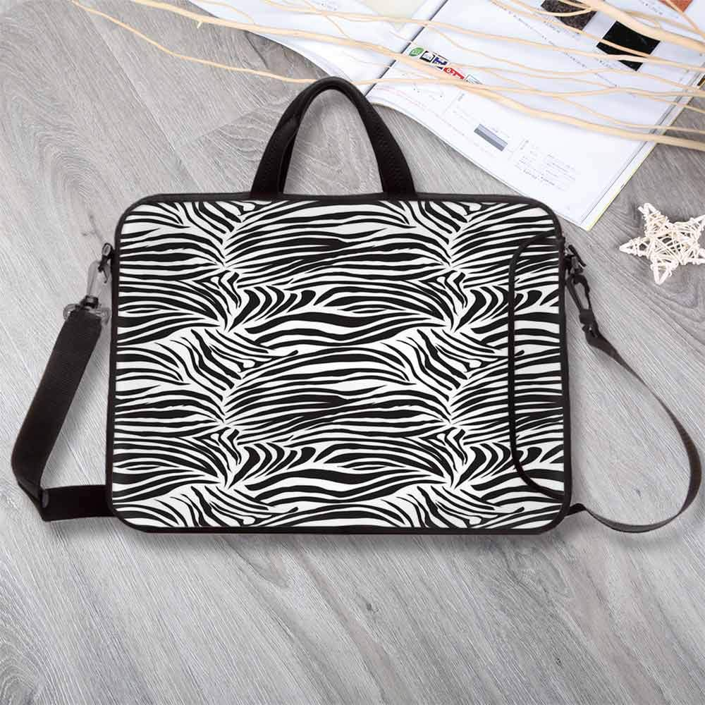 Zebra Print Anti-Seismic Neoprene Laptop Bag,Striped Zebra Animal Print Nature Wildlife Inspired Fashion Simple Illustration Laptop Bag for Travel Office School,17.3''L x 13''W x 0.8''H
