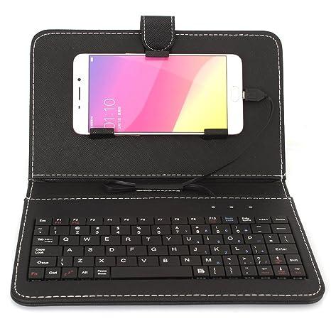 para Android Suave de Cuero de la PU móvil teléfono Celular Micro USB Teclado Cubierta Funda