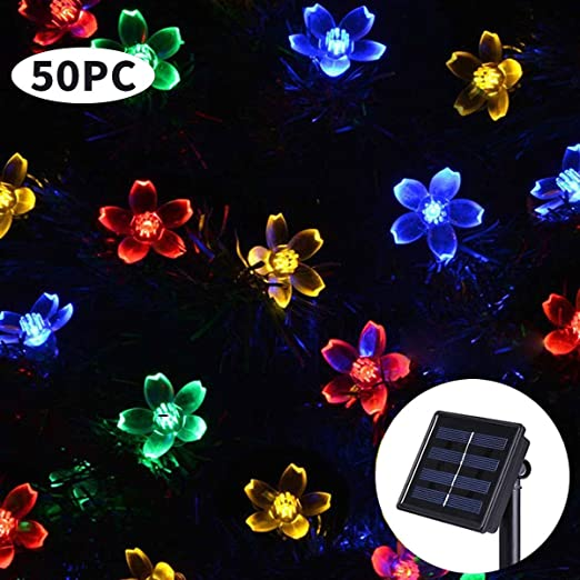 Guirnalda de luces solares para exteriores, 50 luces LED para ...