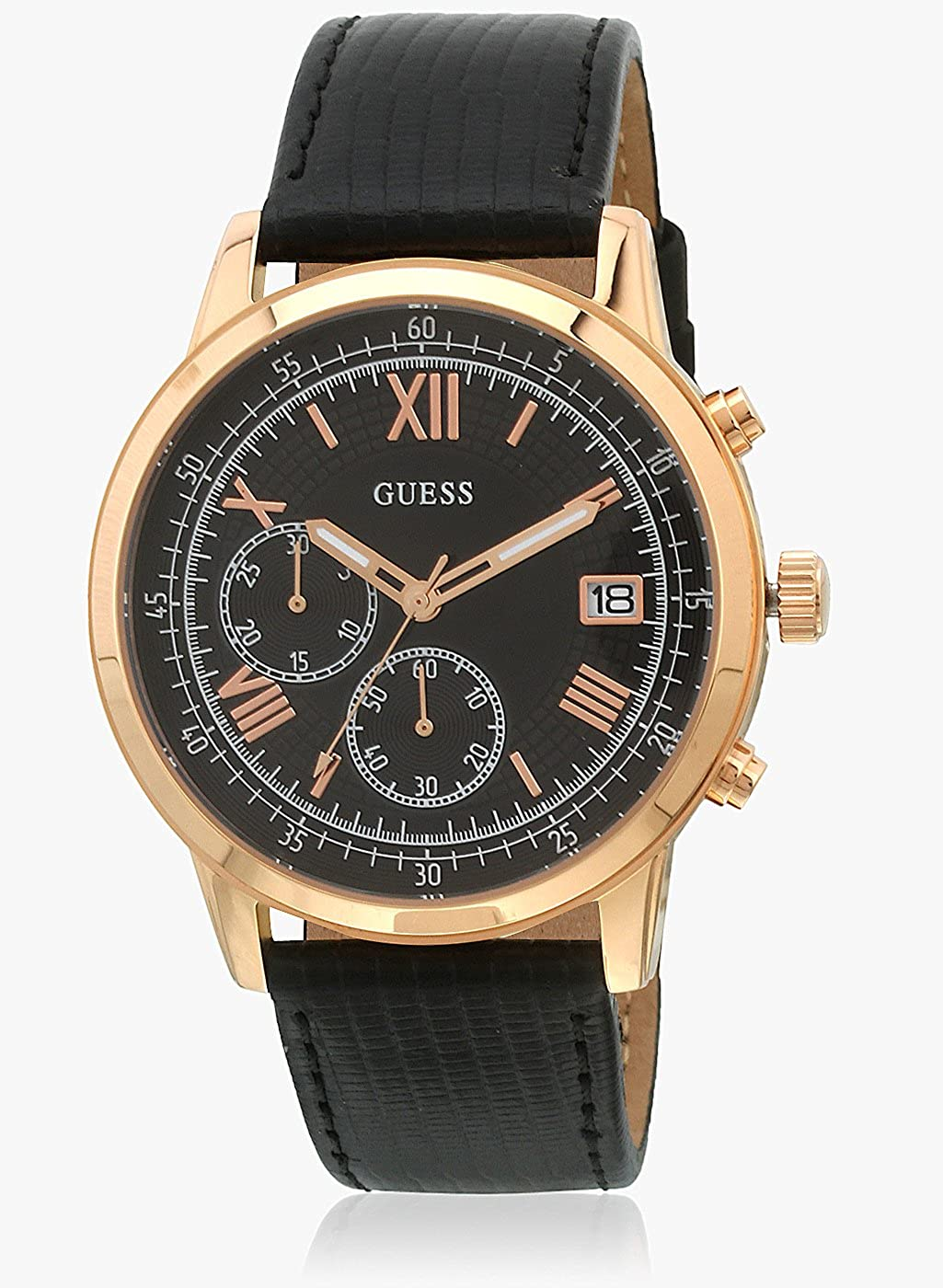 fef368bc03d Amazon.com: Guess Black Leather Watch-W1000G4: Watches