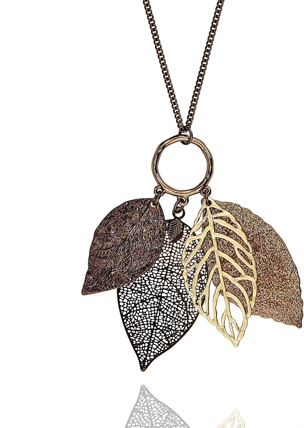 Pomina Gold Silver Two Tone Filigree Leaf Pendant Long Necklace Chic Pendant Chain Necklace for Women