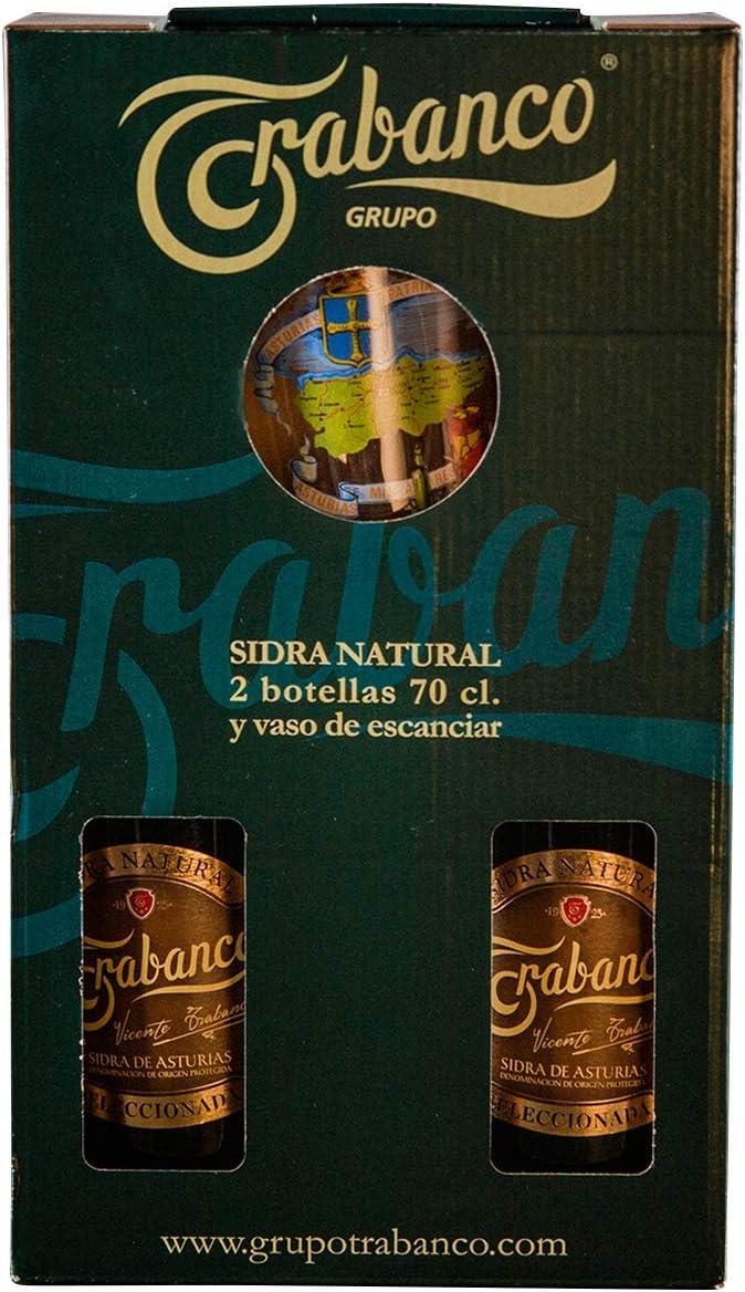 Trabanco Estuche de 2 Botellas de Sidra Natural Seleccionada de 70 cl y Vaso de Sidra de Cristal.