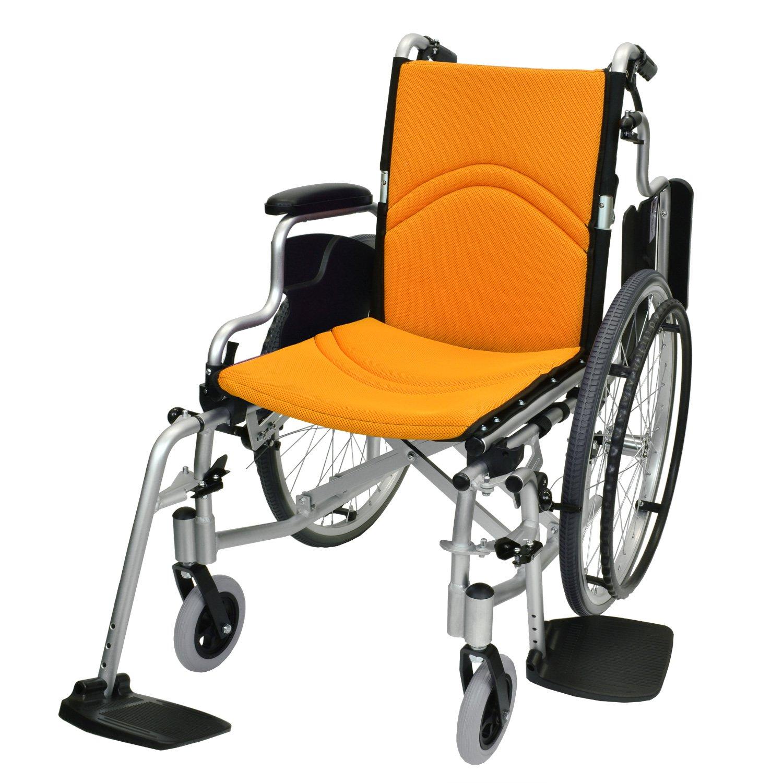 ケアテックジャパン 自走式 アルミ製 折りたたみ 車椅子 コンフォート CAH-50SU (オレンジ) B071CL8BQC オレンジ(メッシュ) オレンジ(メッシュ)