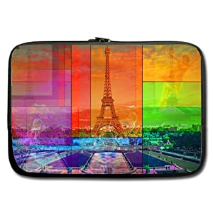 INSTALL AND EASY TO CARRY Wear& Slim &Dapper Paris Custom Custom Neoprene Sleeve for Laptop 15 Inches(Twin sides)