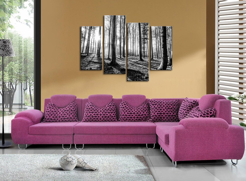 Sea Charm- Forest Canvas Wall Art 4 Pieces Black and White Landscape Tree Wood Sunset Painting Picture Prints on Canvas for Home Living Room Wall Decor,Framed Ready to Hang