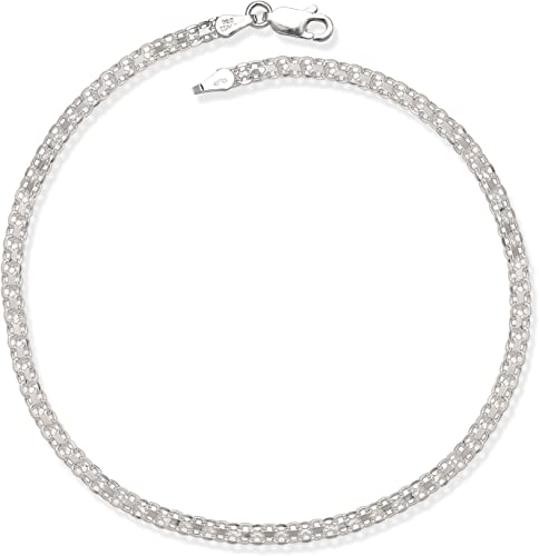 Miabella 925 Sterling Silver or 18K Gold Over Silver Italian 4mm Byzantine Link Chain Bracelet or Anklet Ankle Bracelet for Women Teen Girls 6.5 7 9 7.5 8 10 Inch 925 Italy