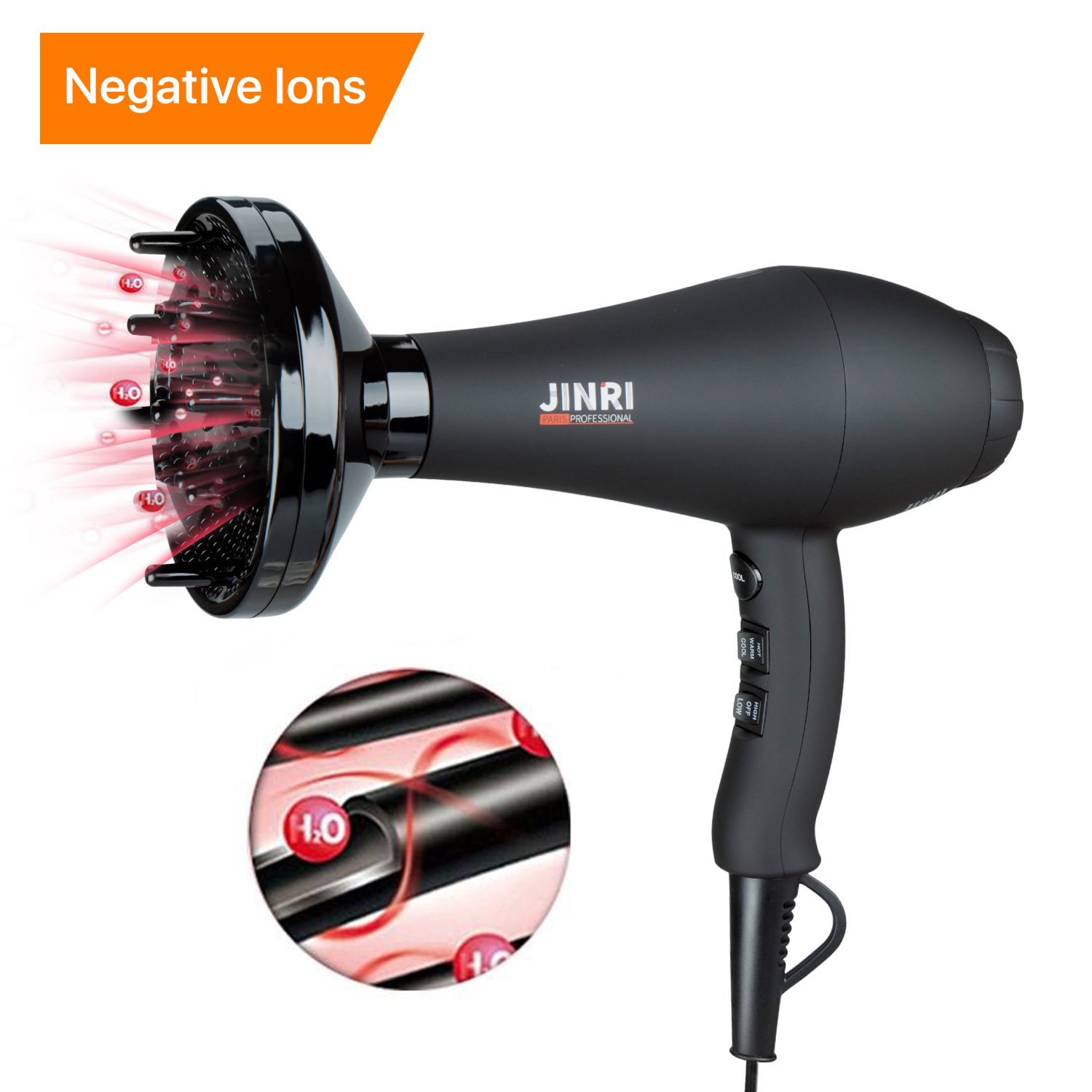 Jinri Hair Dryer Professional Salon 1875W AC Motor Negative Ionic Far Infrared Blow Dryer with Diffuser Straightenning and 2 Speed 3 Heat Setting