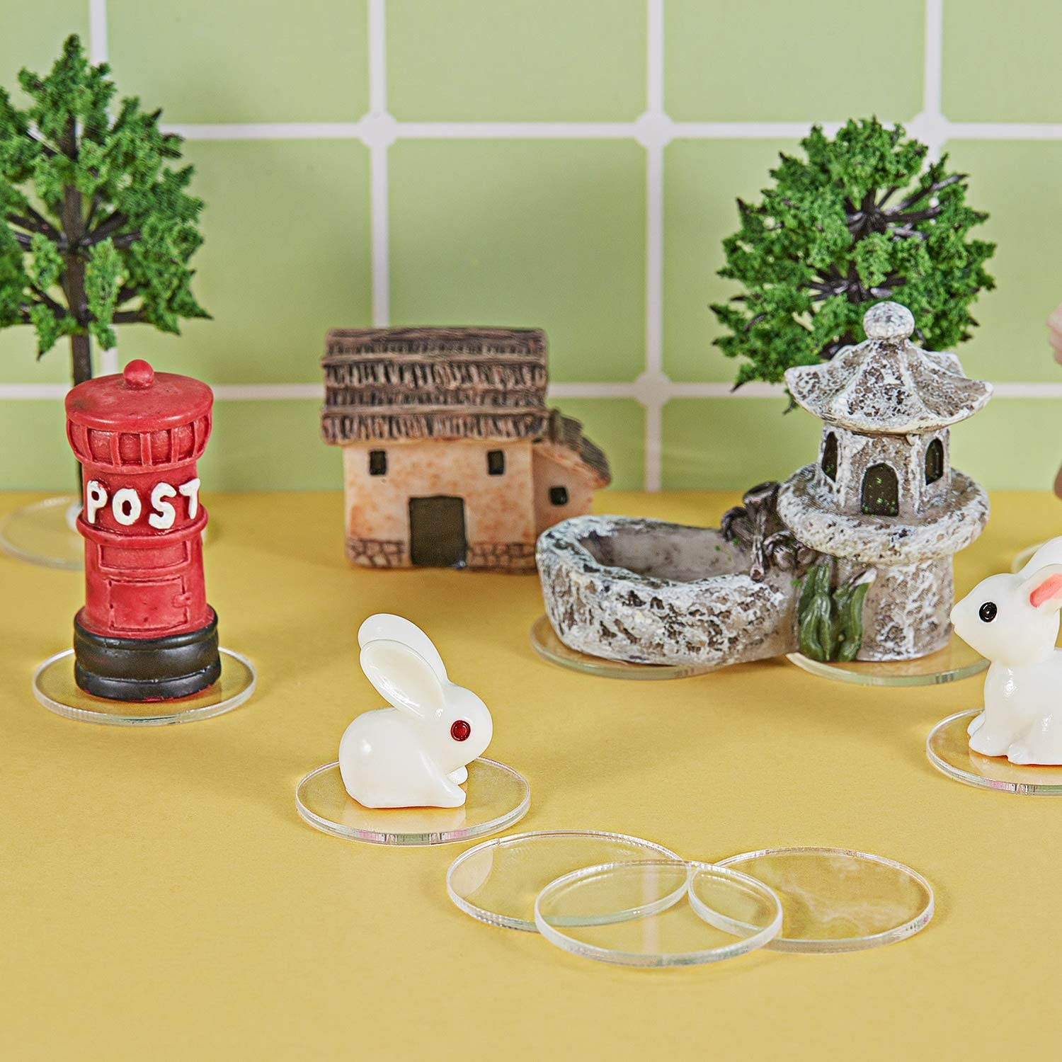 1,5 mm di Spessore 580 Pezzi 25 mm Chiari Basi di Miniature Accessori di Gioco Basi Rotonde di Miniature Basi di Miniature Plastica Piattaforma di Basi Rotonde