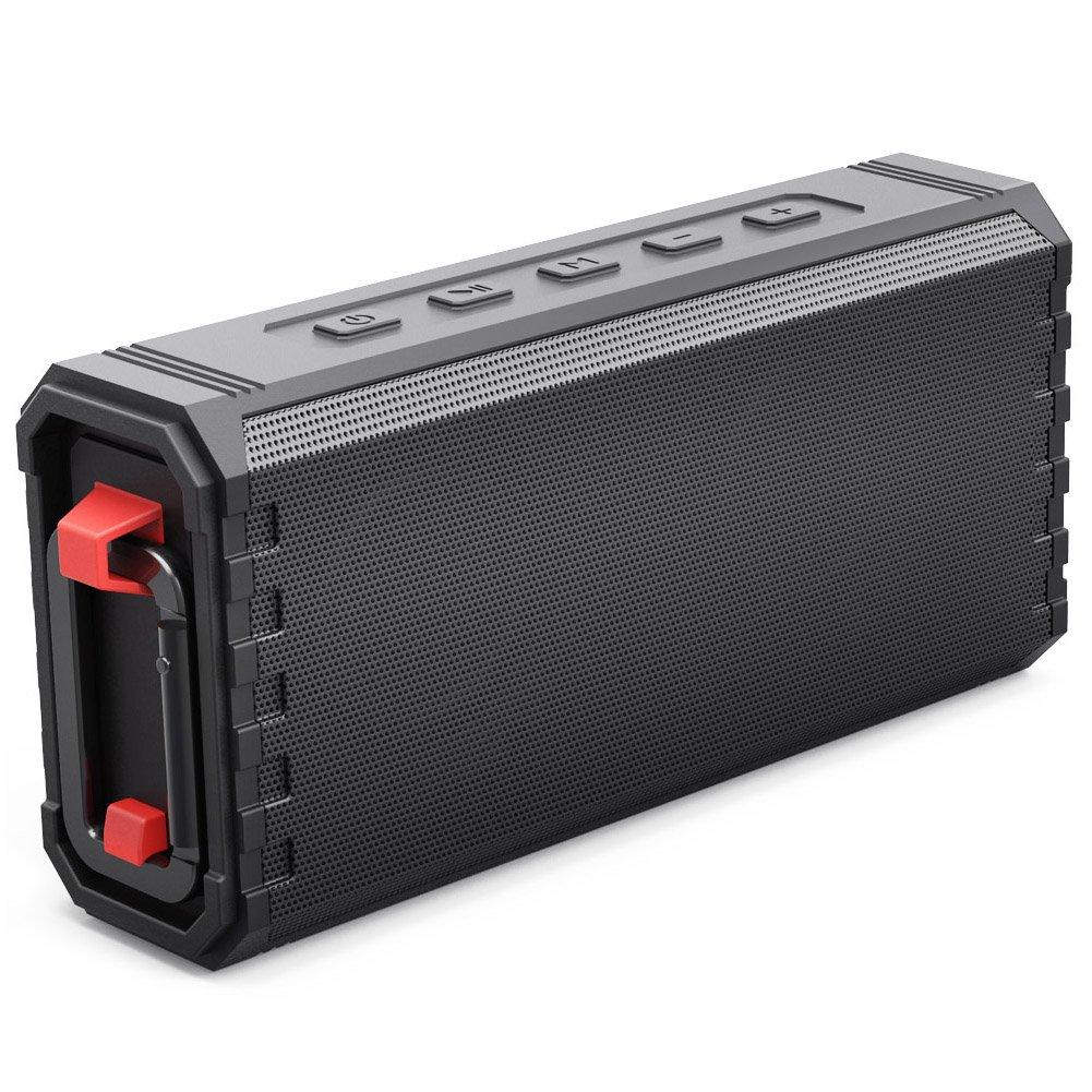 Bluetoothスピーカー ポータブル 防水 アウトドア IPX7 20W Hcmanワイヤレススピーカー 重低音強化サウンド 24時間再生 内蔵マイク microSDカード 自動オフ 高耐久デザイン パーティー 旅行に ブラック 18522V6Black  ブラック B07D7757VP