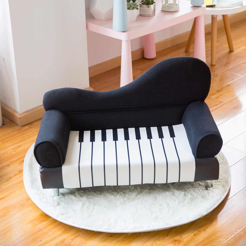 Kinbor Kids Sofa Armrest Chair Couch Upholstered Chair Children Living Room Toddler Furniture,Black,Piano Shape