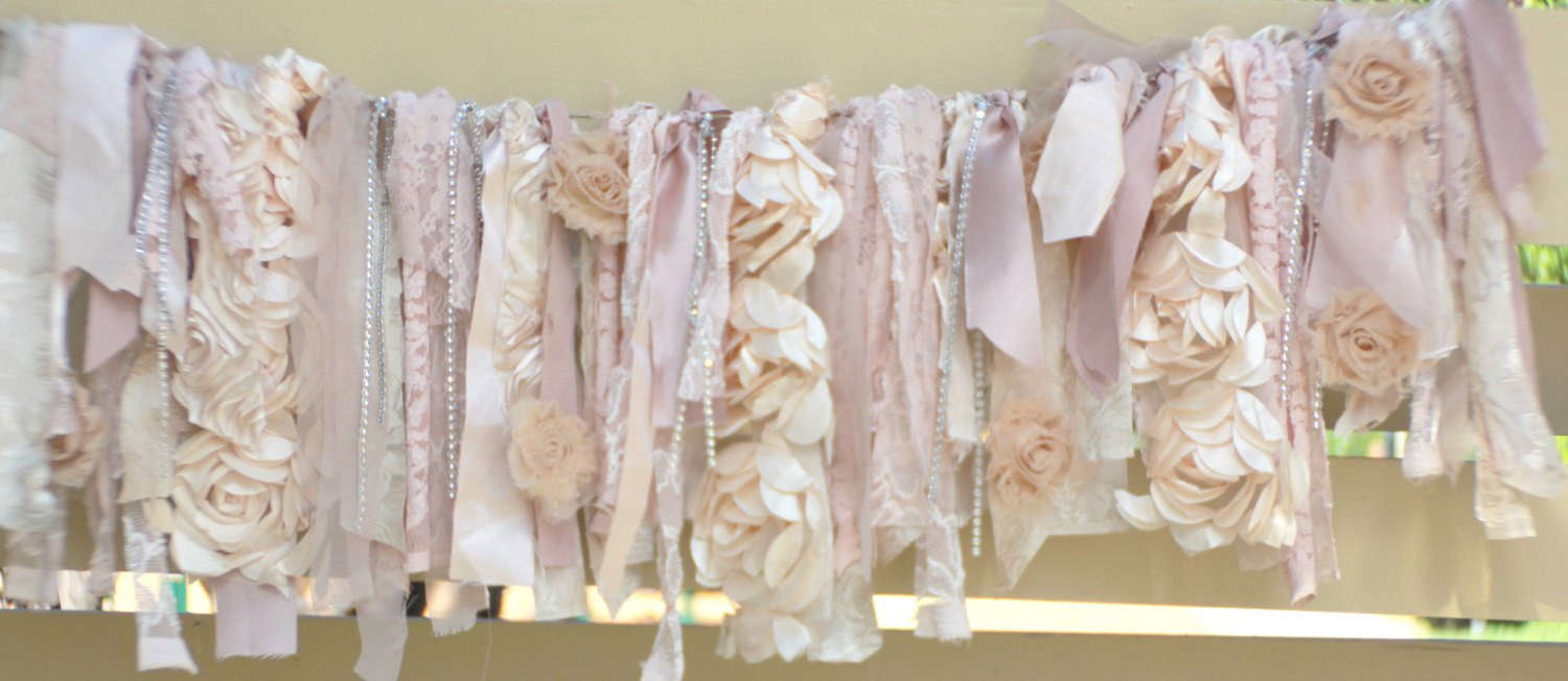 Shabby Chic Soft Rag Tie Garland : ~ Photo Shoot ~ Vintage ~ Wedding Decor ~ Nursery ~ Bridal Shower ~ Birthdays ~Gender Reveal Parties ~ Decorations ~ Photo Props ~ Wall Decor! (9 FEET WIDE)
