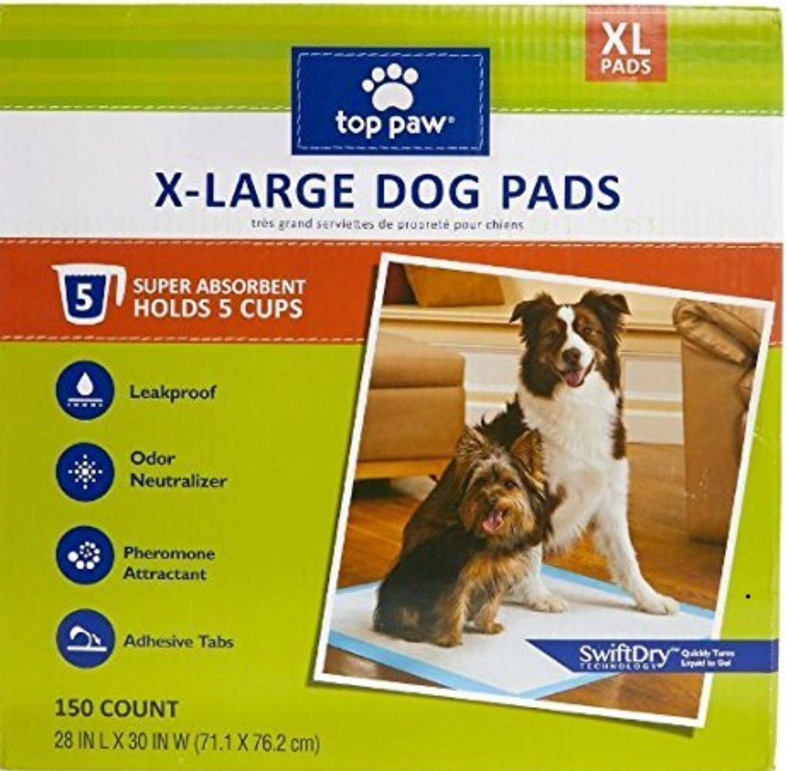 150 count Top Paw Dog Extra Large Pads for Puppy Training, Indoor Dogs or Apartment Living, or Dogs with Incontinence, 150 Count