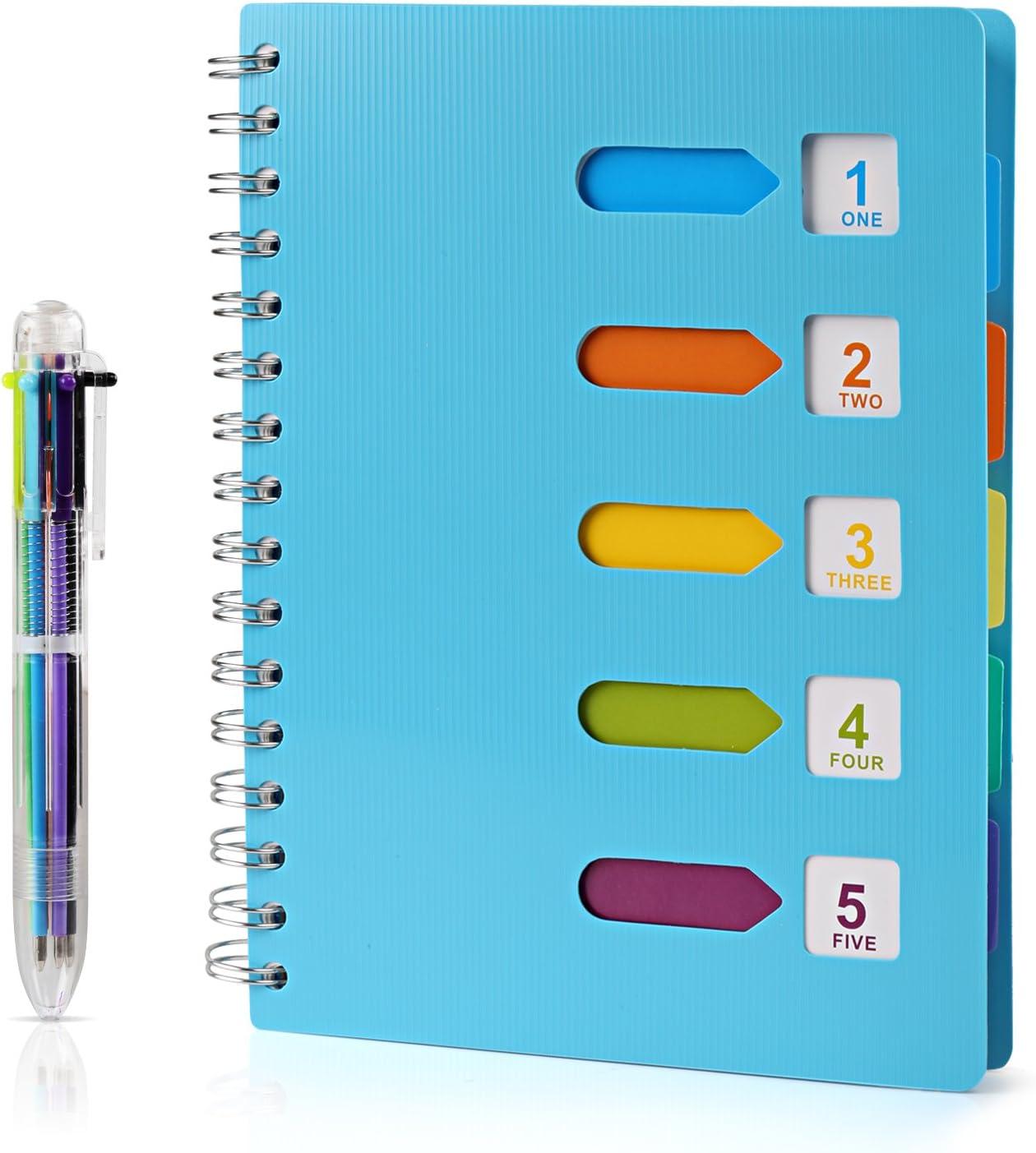 Kesote A5 Cuaderno Espiral con Etiquetas de 6 Color y A Bolígrafo de 6 Color A5 Notebook para Escuela, Oficina o Hogar, 120 Hojas