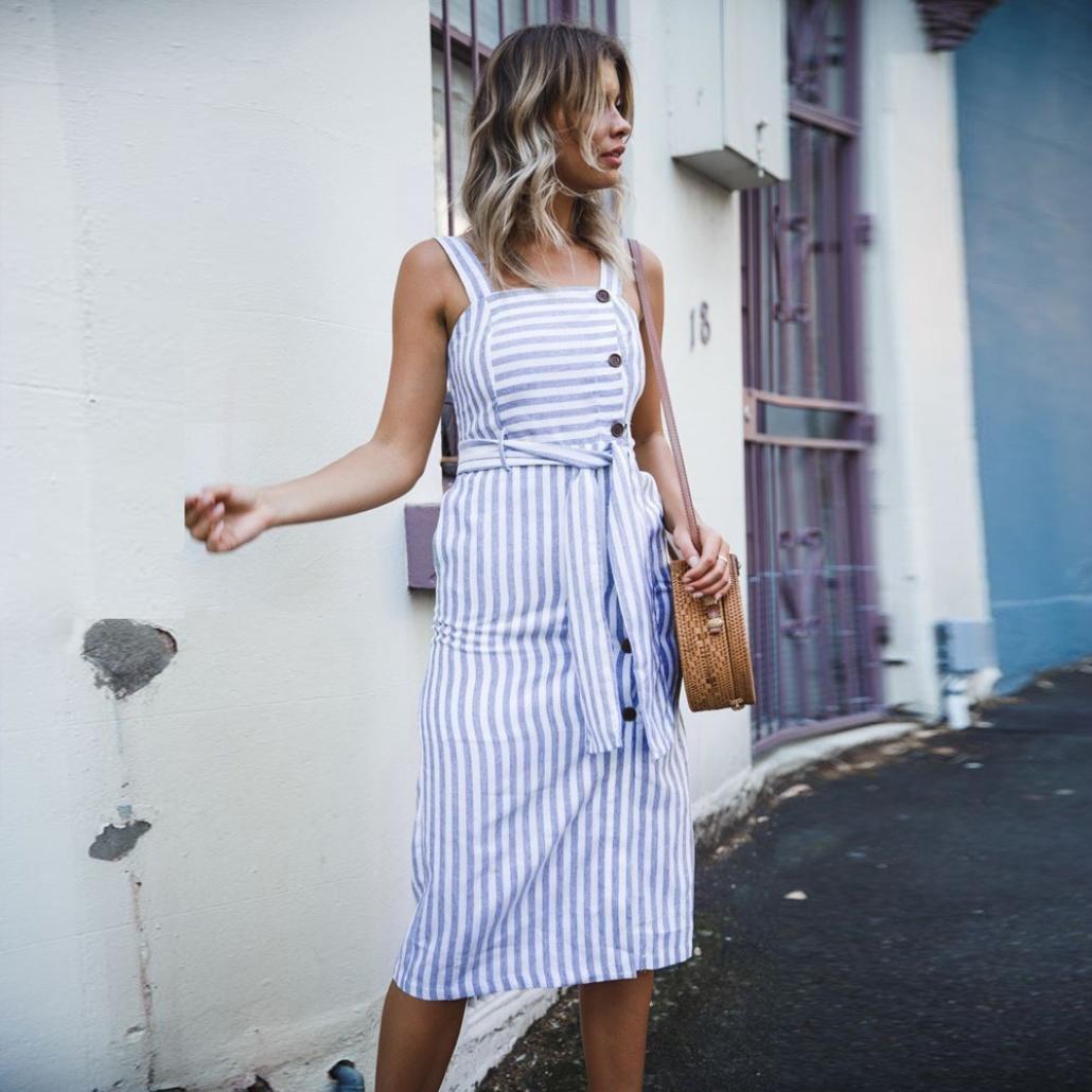CUCUHAM Womens Striped Long Boho Dress Lady Beach Summer Sundrss Button Down Maxi Dress