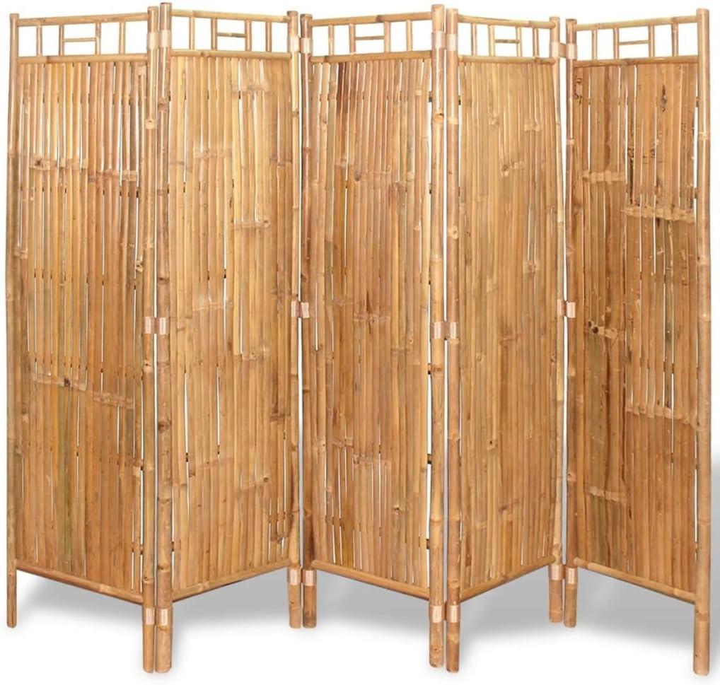vidaXL Biombo Divisor con 5 Paneles Bambú Dimensiones 200x160 cm ...