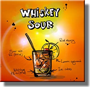 Whiskey Sour Cocktail Recipe Picture on Stretched Canvas, Wall Art Decor, Ready to Hang!