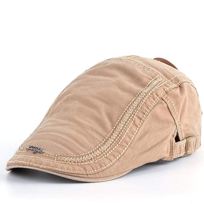 97ad98f8 Dreamstar Adjustable Beret Hat for Men Washed Cotton Boina Caps Women Male  Beret Visor Peaked Cap