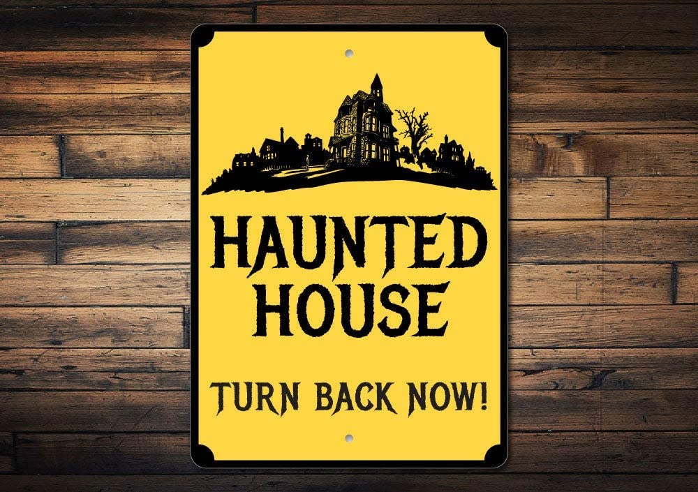 Promini Metal Sign for Wall Decor,Haunted House Sign, Haunted House Decor, Haunted House Gift, Spooky House Sign, Dont Enter Turn Back Now Sign, Halloween Sign, Quality Metal 12x18 Inches
