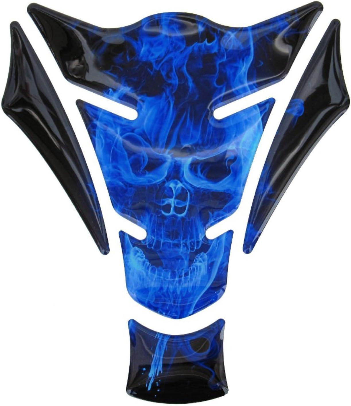Tankpad 3d 500060 Ghost Blue Totenkopf Motiv Flammen Blau Universell Für Motorrad Tanks Auto