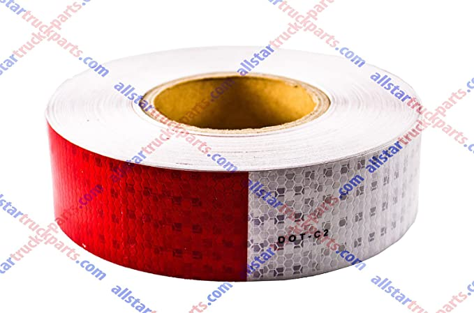 """WHITE RED Reflective   Conspicuity Tape 1-1//2/"""" x 25/'  6-6"""