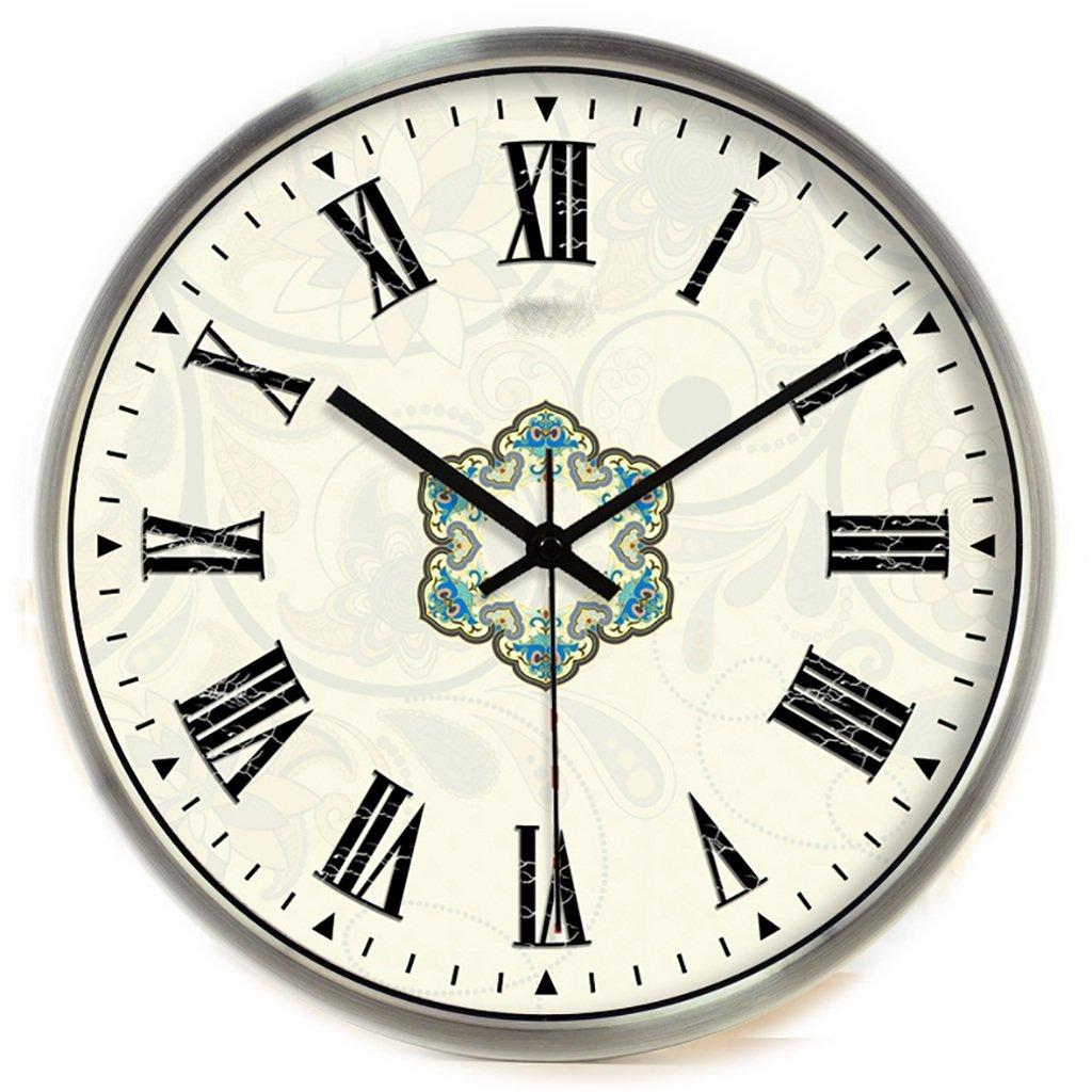 デコレーションサイレントベルクォーツ時計ローマイノベーションヨーロッパ時計バロックウォールクロックホテルメタルクロック (色 : C, サイズ さいず : 12inch) B07F625L2N 12inch|C C 12inch